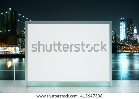 Observation ground with blank banner on illuminated night city background. Mock up, 3D Rendering - stock photo