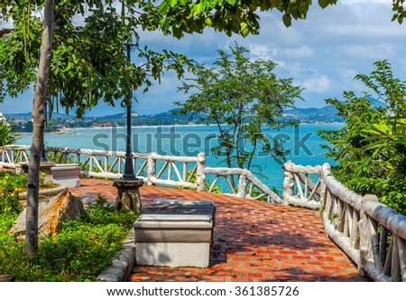 Observation platform on the island of Koh Samui in Thailand. - stock photo