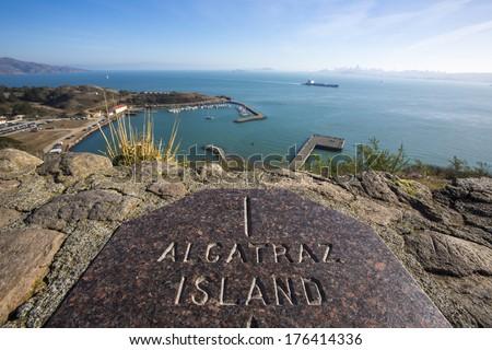 Observation post looking toward Alcatraz Island - stock photo