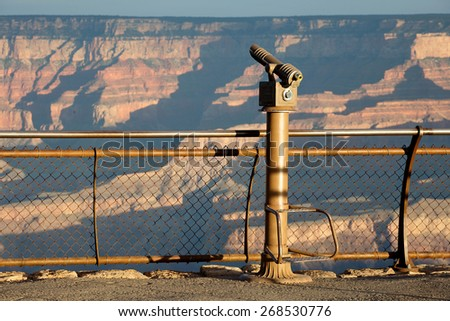 Observation telescope at the South Rim of the Grand Canyon, AZ, USA travel destination - stock photo