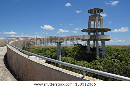 Observation Tower at Shark Valley in the Florida Everglades - stock photo