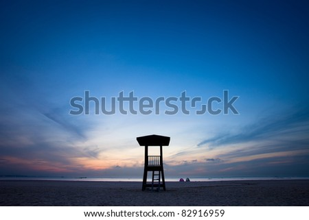 Observation tower on the beach - stock photo