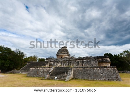 Observatory in Chichen Itza - ancient ruins of Maya, Mexico - stock photo