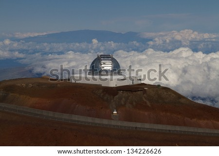 Observatory on Mauna Kea, Hawaii - stock photo