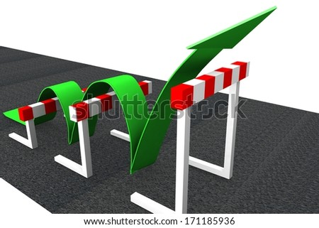 obstacle road - green arrow - Dow jones - economic growth - stocks going up - stock photo