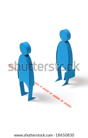 Obstacles in business.  The composition which manually has been cut out from a colour paper. - stock photo