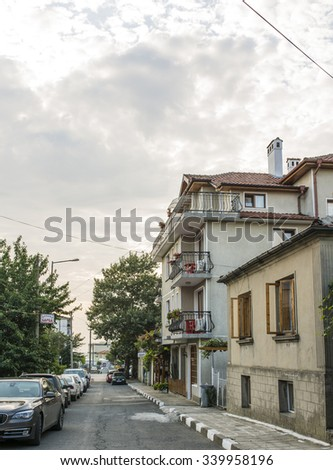 OBZOR, BULGARIA - AUG 07, 2015:   Architecture and streets of the town of Obzor in Bulgaria. Picture taken during a trip to Bulgaria in the morning.