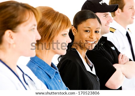 Occupations: Line Up of Cheerful People In Various Jobs