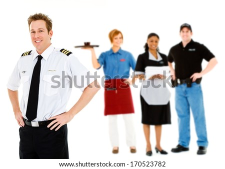 Occupations: Smiling Pilot With Other Occupations Behind - stock photo