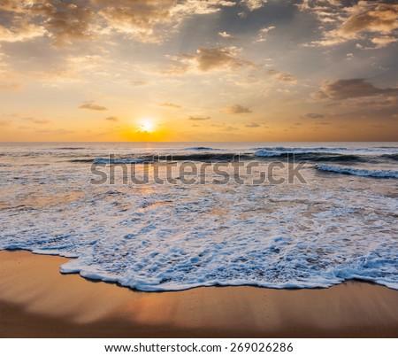 Ocean and beach beautiful seascape - stock photo