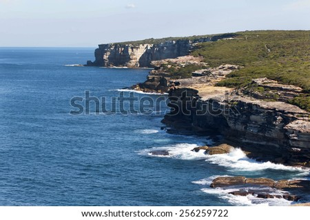 Ocean and Cliffs Royal National Park, Sydney NSW Australia - stock photo