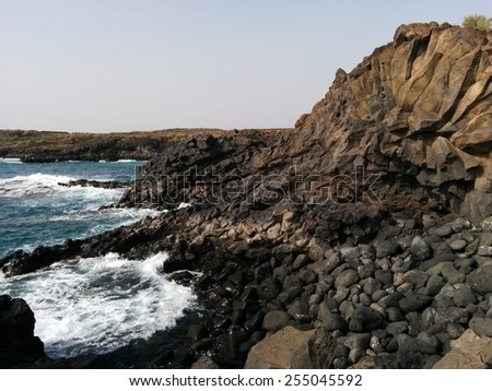 Ocean and stones.Tenerife, Canary Island - stock photo