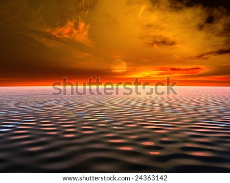 Ocean at sunset - stock photo