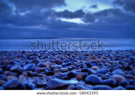 Ocean at sunset - stock photo