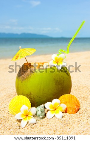 Ocean beach and and coctail - stock photo