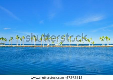 Ocean beach hawaii Big island - stock photo