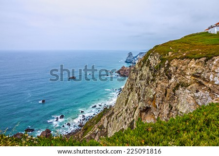 Ocean beach view, Cabo da Roca, Portugal - stock photo