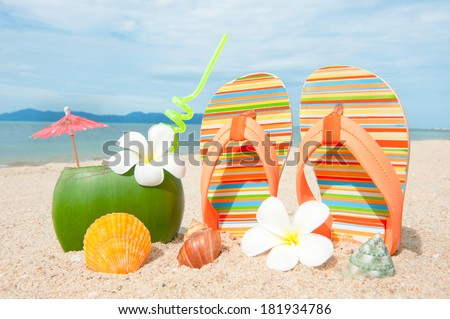 Ocean Beach with exotic coctail