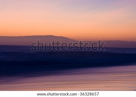 Ocean blur sunset - stock photo