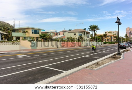 Ocean Boulevard (A1A) in Fort Lauderdale, Florida - stock photo