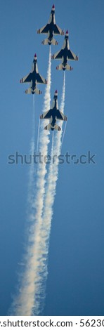OCEAN CITY, MD - JUNE 15: US Air Force Demonstration Team Thunderbirds. Flying on f-16 showing precision of formation flying during the annual OC Air Show on June 15, 2010 in Ocean City, Maryland. - stock photo