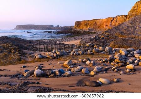 ocean coastline in Peniche, Portugal - stock photo