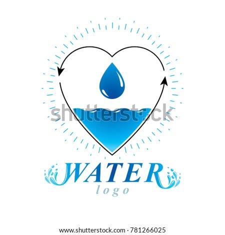 ocean freshness theme logo save water stock illustration 781266025