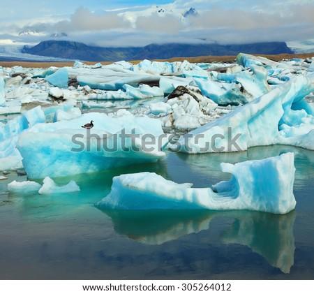 Ocean ice lagoon Yokulsarlon. Azure ice  reflected in cold smooth water - stock photo