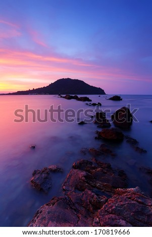 Ocean in summer with the Gulf of Thailand - stock photo
