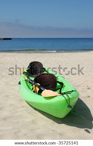 Ocean kayak on a beach; Monterey, California