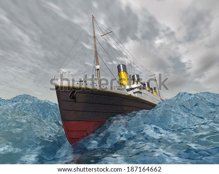 Ocean Liner in the stormy ocean Computer generated 3D illustration - stock photo