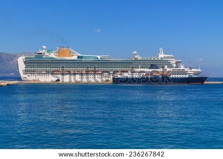 Ocean liner ship the port on Corfu, Greece - stock photo