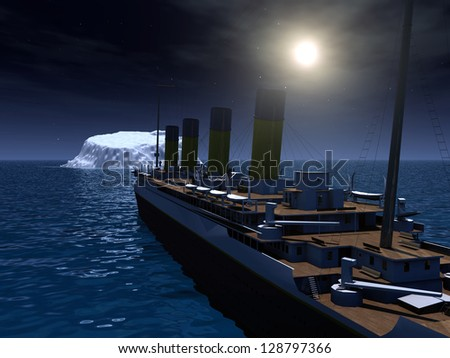 Ocean Liner with Iceberg Computer generated 3D illustration - stock photo