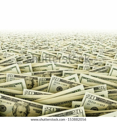 Ocean of money. Big amount of dollar banknotes. - stock photo