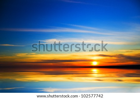 ocean  on sunset. Nature composition.