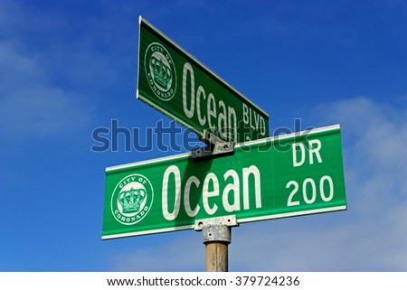 OCEAN  sign on the beach in San Diego,California,USA.