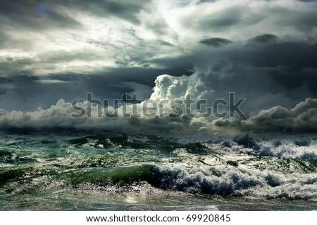 Ocean storm - stock photo
