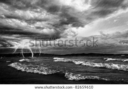 Ocean Storm And Flash Lighting - stock photo