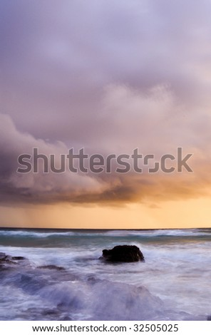 Ocean Storm at sunrise - stock photo