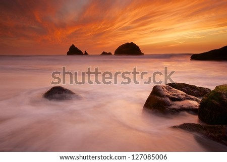 Ocean Sunset at Lands End SF. - stock photo