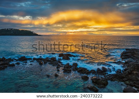 Ocean sunset with great cloudscape. Mirissa, Sri Lanka - stock photo