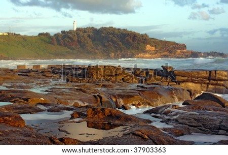 Ocean view at sunrise in Yamba Australia - stock photo
