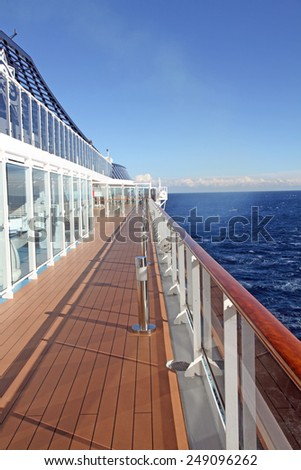 Ocean view from a cruise ship deck on a bright day  - stock photo