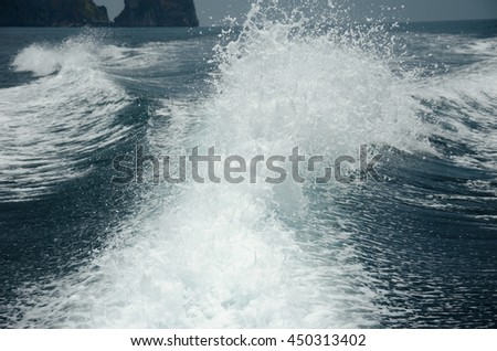 Ocean wake from cruise ship
