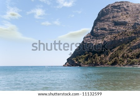 Ocean washing picturesque mountain with alone growing tree
