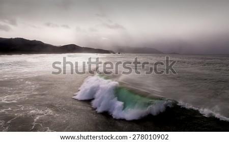 Ocean wave in the Pacific Ocean.  - stock photo