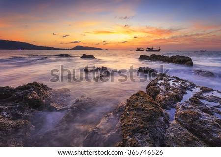Ocean wave seascape beautiful landscape of sunset beach Phuket thailand - stock photo