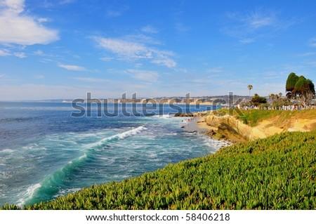 Ocean waves along the coast, La Jolla, California. - stock photo