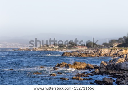 Ocean Waves at Lover's Point in Pacific Grove, California - stock photo