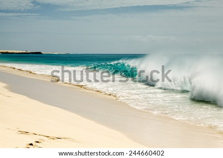 Ocean waves breaking at Cape Verde sandy beach in summer on a sunny day - stock photo